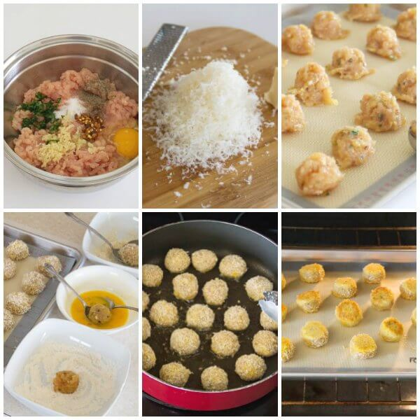 Parmesan crusted chicken meatballs - step by step photos