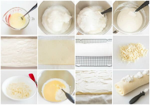 White cake mix roll cake with step by step photo directions.