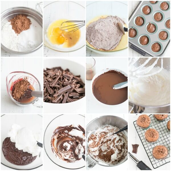 Chocolate cupcakes with chocolate mousse, step by step photos