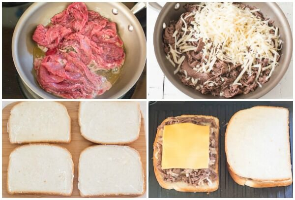 15-minute Philly cheese steak grilled cheese, step by step