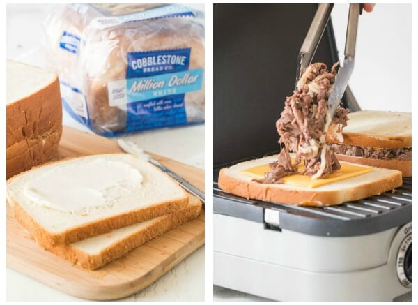 Extra cheesy Philly cheese steak grilled cheese - an easy, yet indulgent dinner in less than 15 minutes!