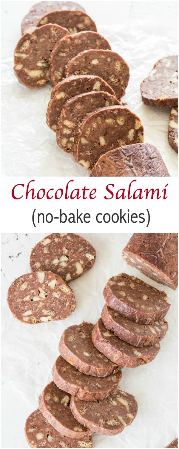 Insanely easy recipe for chocolate salami. No, no actual salami here. These are buttery soft, no-bake chocolate cookies, that just looks like salami.