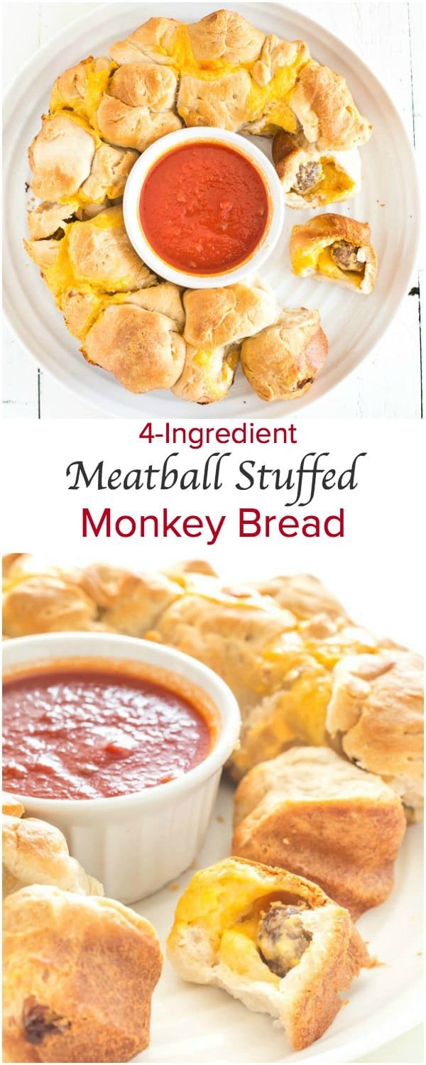 Seriously addicting meatball stuffed monkey bread - super easy finger food for a crowd.