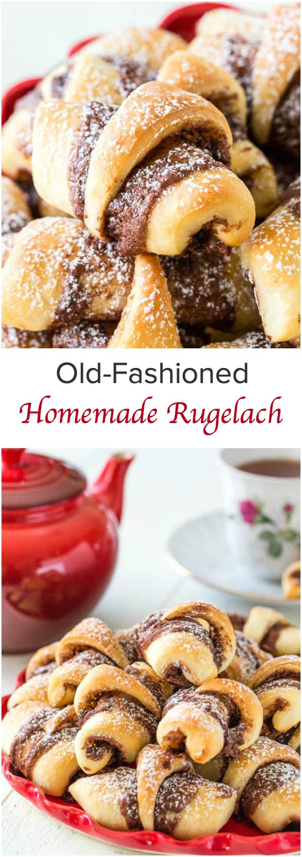 Soft and fluffy mom's old-fashioned rugelach are always a hit! These yeast leavened rugelach are light and tasty, and you can fill them with anything your heart desires.