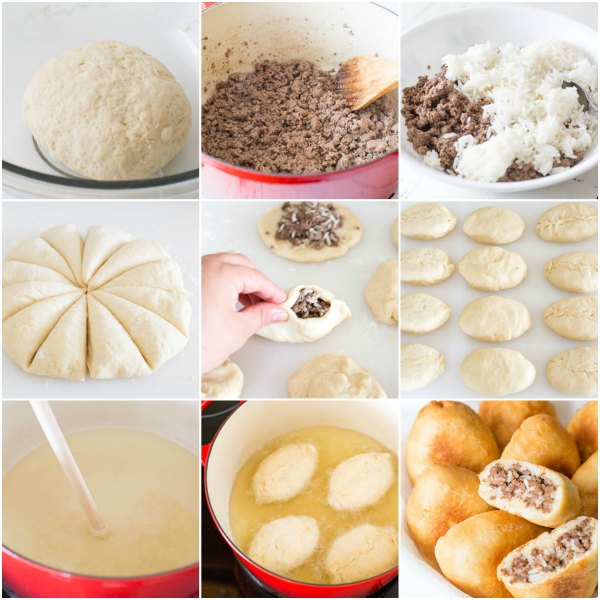 Step by step photo direction for Russian piroshki with meat and rice...
