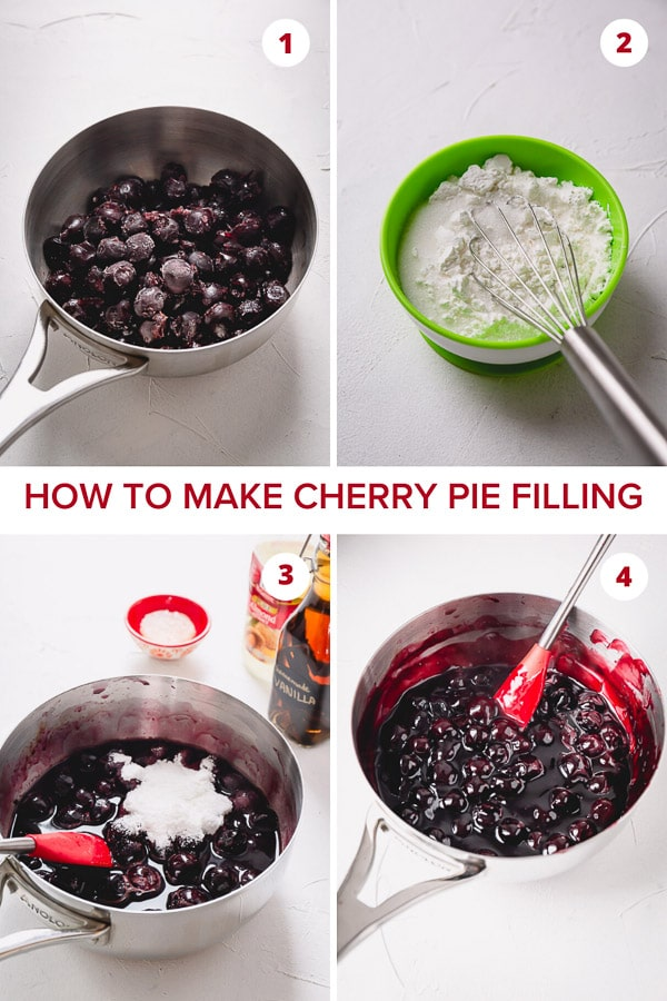 Homemade cherry pie filling is so easy to make and you can use either fresh or frozen cherries. More tips on how to make thick and not too sweet filling. #cherrypiefilling