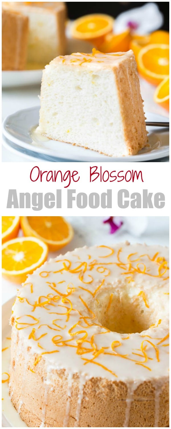 Infused with citrusy floral orange blossom, this angel food cake is simply the BEST! And you sure don't want to omit that orange curd, it takes this cake from great to FABULOUS!