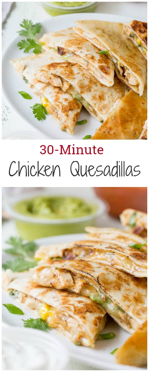 This 30-minute cheesy chicken quesadillas recipe is super quick and easy weeknight dinner made delicious!