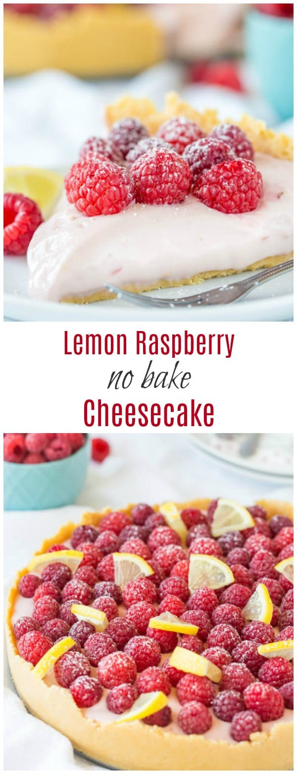 Creamy sweet and loaded with fresh berries, this lemon raspberry no bake cheesecake is a must-try summer treat and sure crowd-pleaser.