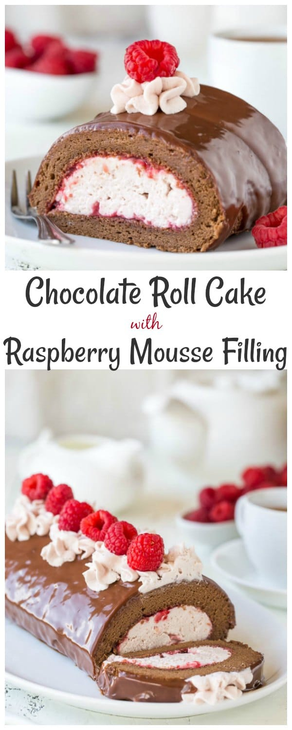 Incredibly light and moist chocolate roll cake with raspberry mousse filling. I can't pick which part is better, but I know together they make one irresistible dessert!