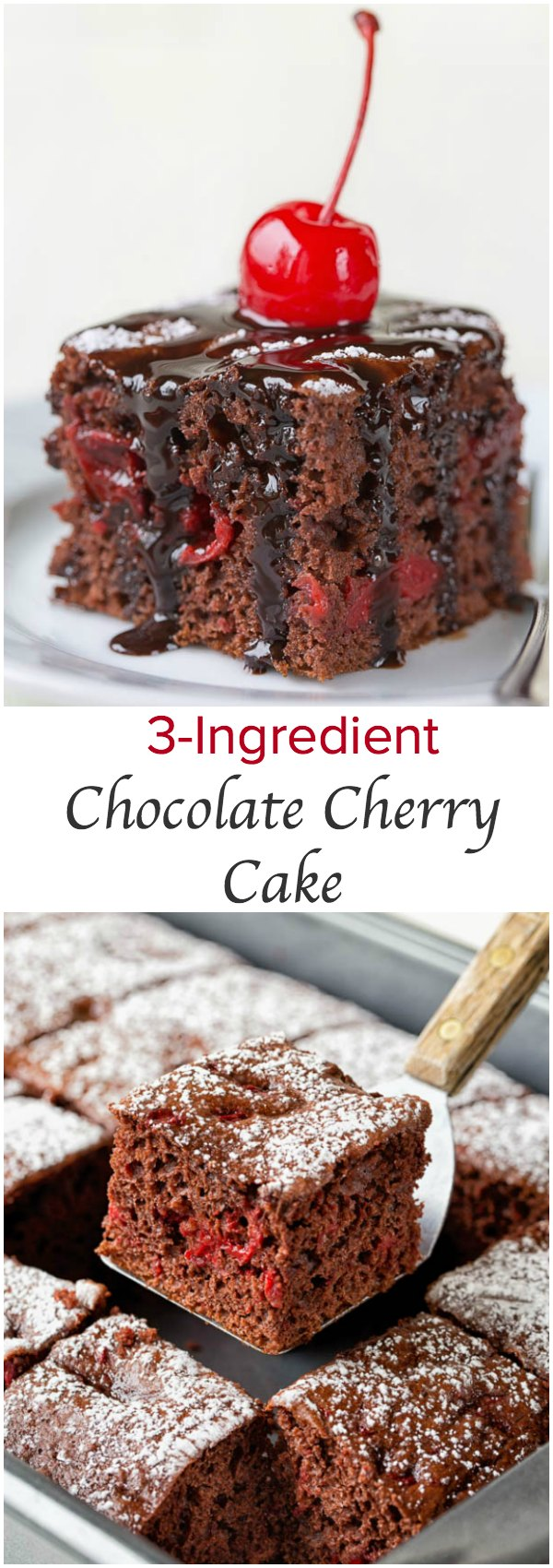 3-Ingredient Chocolate Cherry Cake ~Sweet & Savory by Shinee