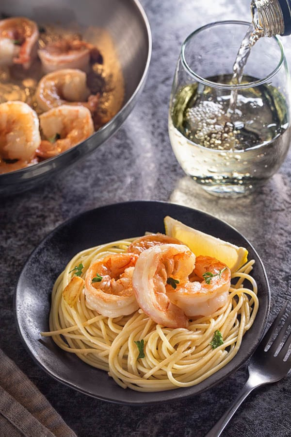 Serve these beautiful sauteed shrimp over angel hair pasta for a complete meal! #shrimppasta