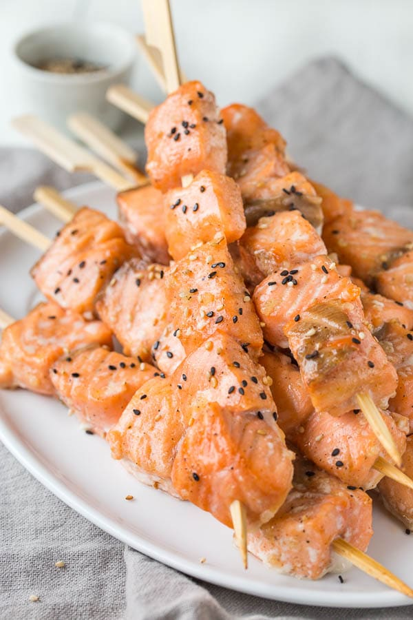 Tender juicy salmon bites infused with sweet and nutty flavors. A fun n' quick dinner made easy!