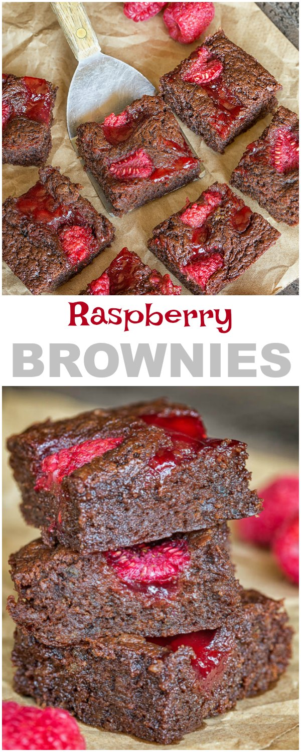 Bursting with juicy sweet raspberries in every bite, this rich and fudgy raspberry brownies are da BOMB! So good it's dangerous!