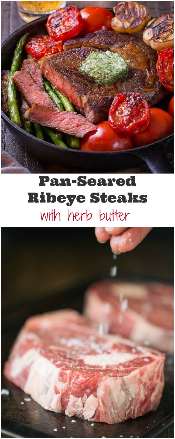 Pan-seared ribeye steaks are an effortless quick dinner for any day of the week. And when paired with this aromatic herb butter for steak, you're sure to impress!