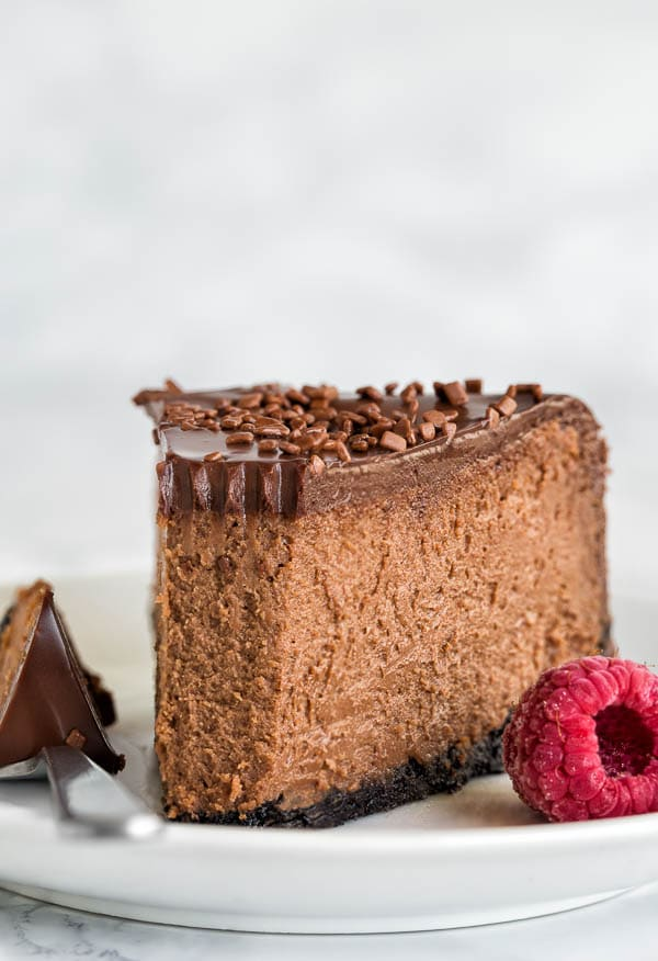 Insanely decadent chocolate cheesecake for your indulgence! It's like biting into creamy chocolate truffle, but in a cheesecake form.