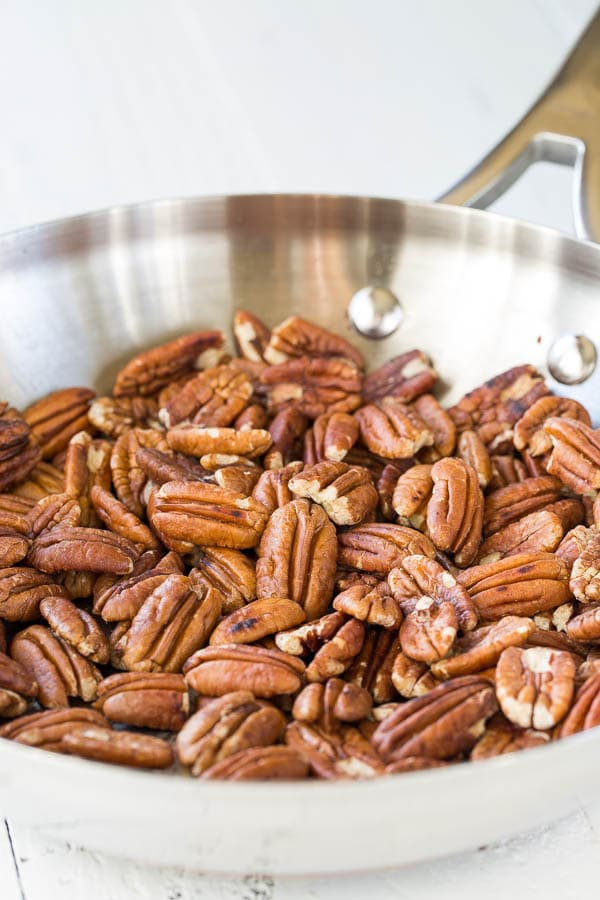 Toasting the pecans is a must for the best pecan pie! Don't skip it!