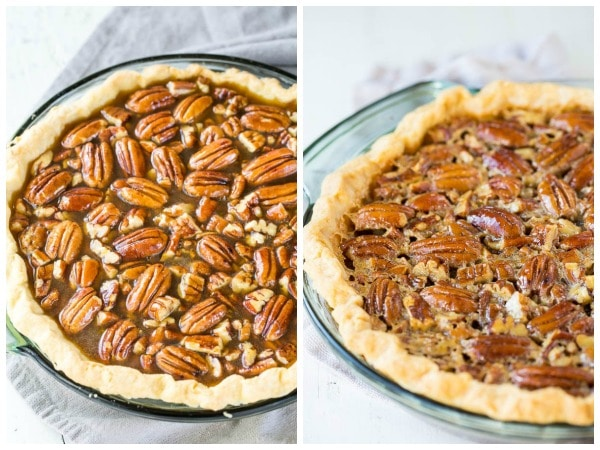Pecan pie before and after baking! Gorgeous sight...