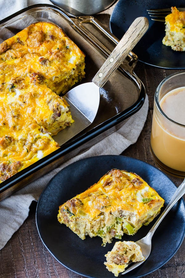 Leftover Thanksgiving sausage stuffing used in a easy make-ahead breakfast casserole. It feeds a crowd. #leftoverstuffing #ThanksgivingLeftoverRecipes #breakfastcasserole
