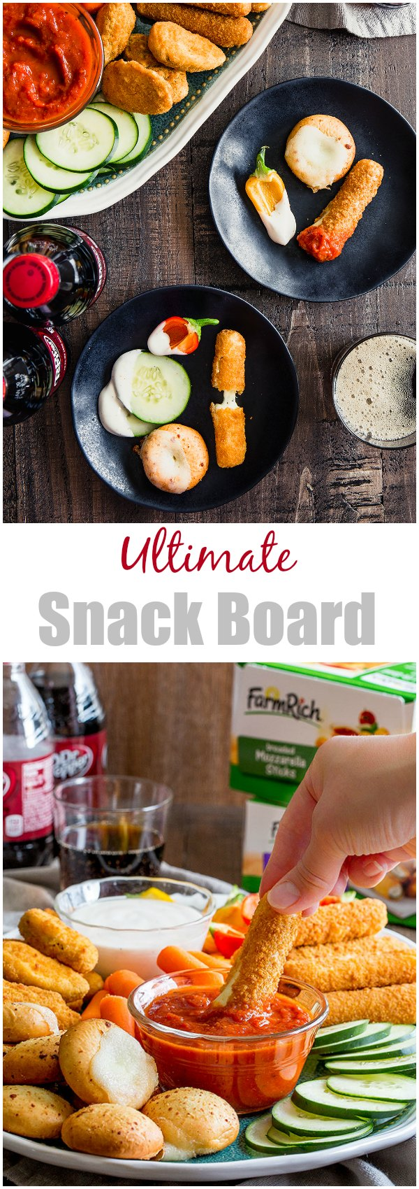 Ultimate snack board for game day, a beautiful balance of healthy and indulgent! #snackboard