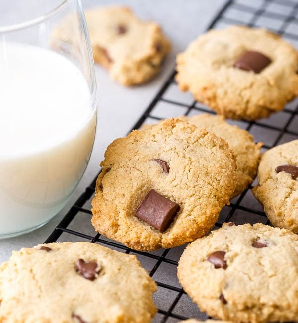 almond cookies and a glass of milk