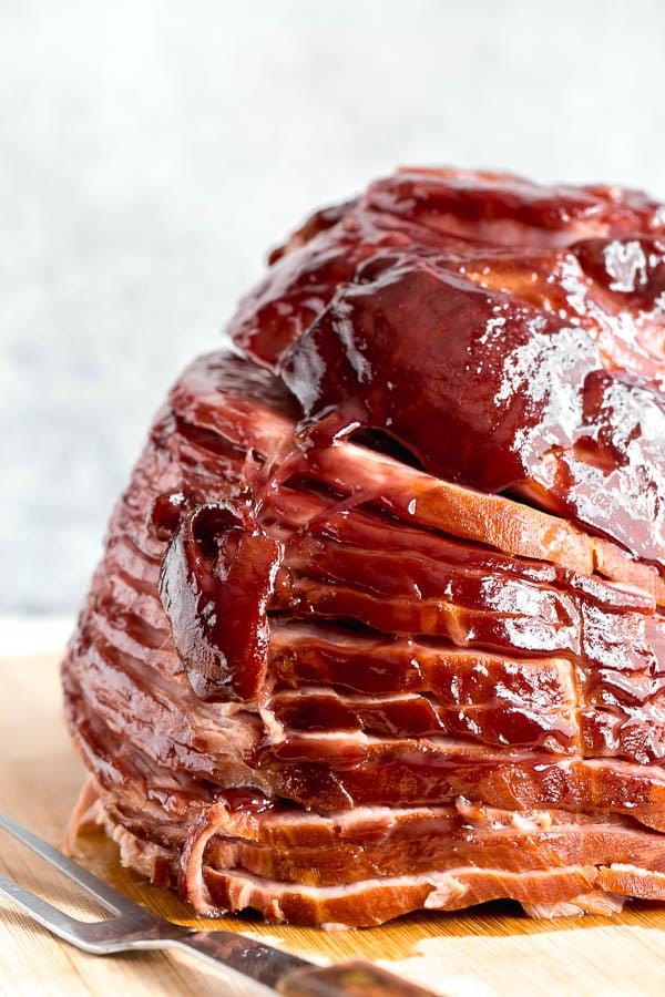 How to cook the best moist ham with raspberry mustard glaze. #spiralham #EasterHam #howtocookham