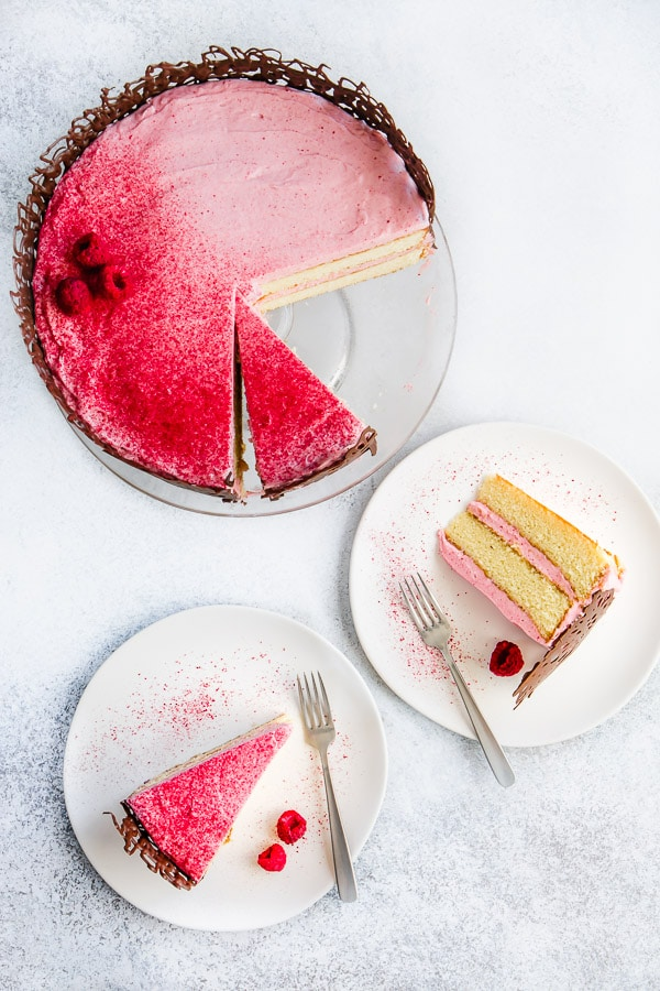 This Simple Vanilla Cake With Raspberry Cream Cheese Frosting Makes A Perfect Birthday