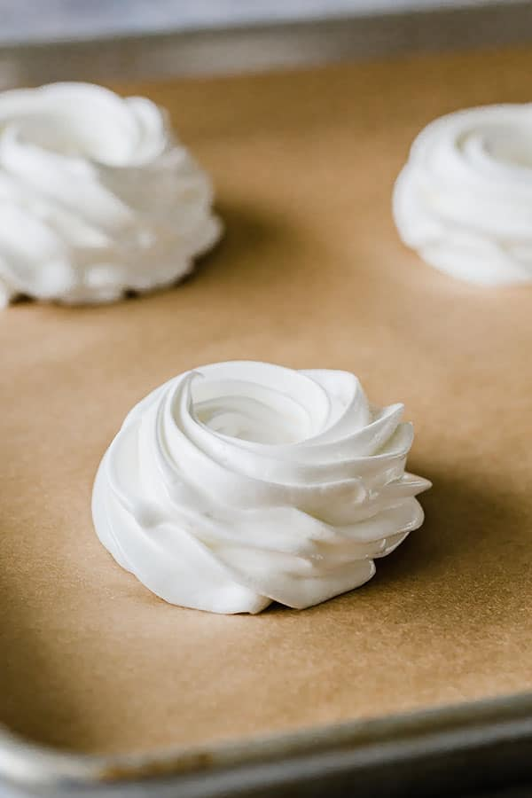 Or place the meringue into a piping bag with a decorative tip (I used Wilton 1M) and pipe beautiful nests.
