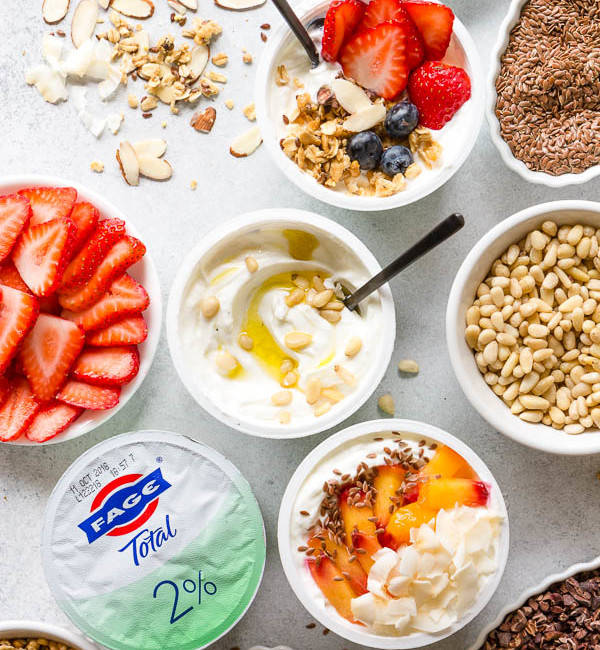 3 sweet and savory yogurt bowl ideas for healthy breakfast or an afternoon snack. Ultimate Yogurt Bar to customize a perfect yogurt bowl! #yogurtbar #snack #healthysnack #snacktime #yogurtbowl