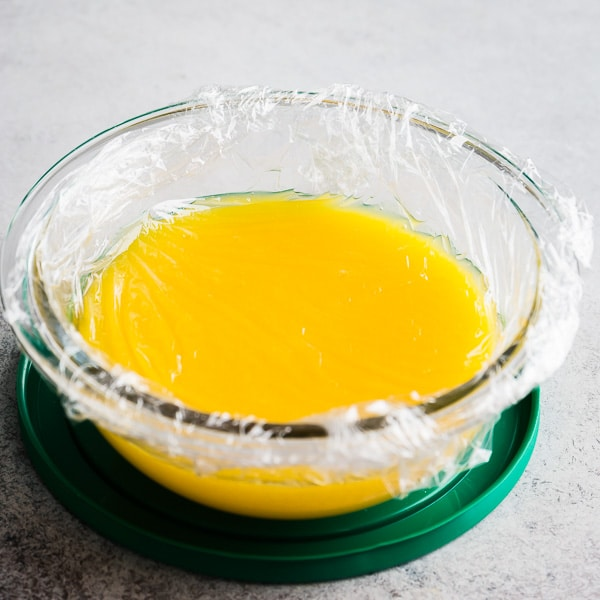How to make easy lemon curd. Step 6. Cover with plastic wrap, making sure it touches entire surface. Chill.