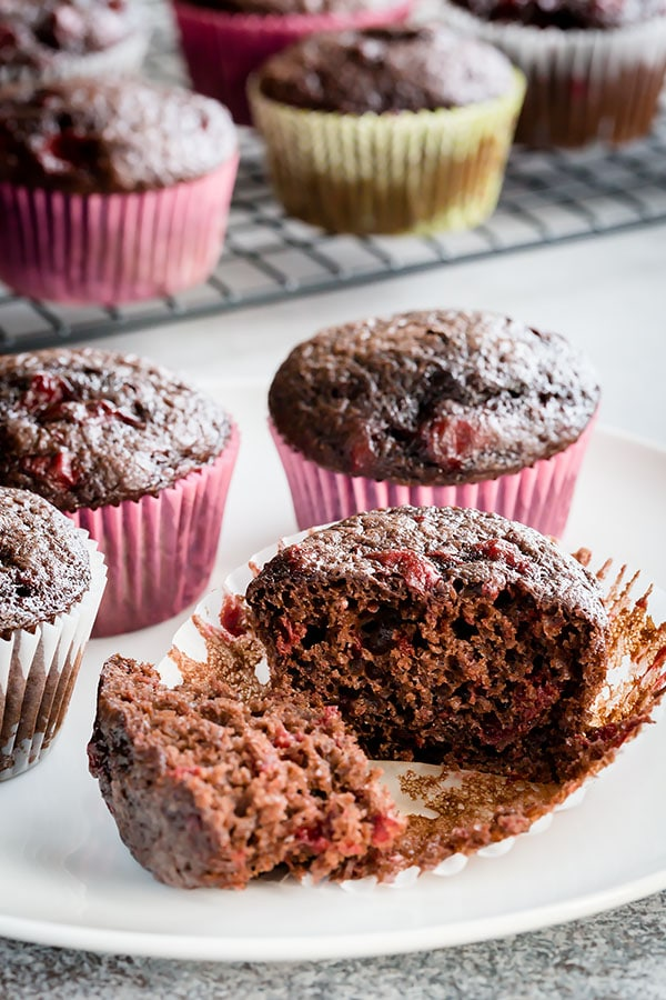Quick and easy, these chocolate cherry muffins are always a huge hit! Whether you're baking it for a crowd, or just for your family, I know it won't be the last time you make it.