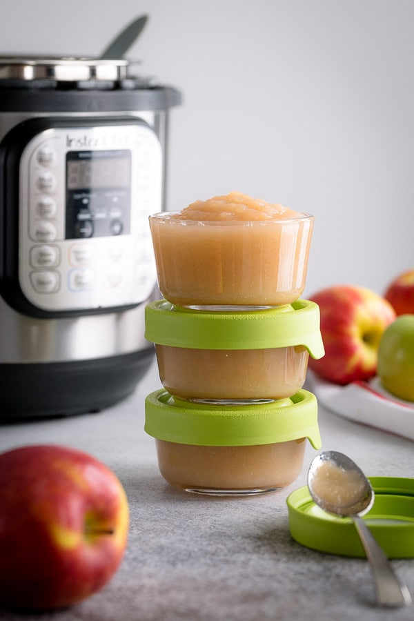 This Instant Pot applesauce is the easiest way to make homemade applesauce. In this tart unsweetened applesauce, the apple flavor really shines. That's why it makes a perfect ingredient in apple flavored desserts, like apple caramel tart.