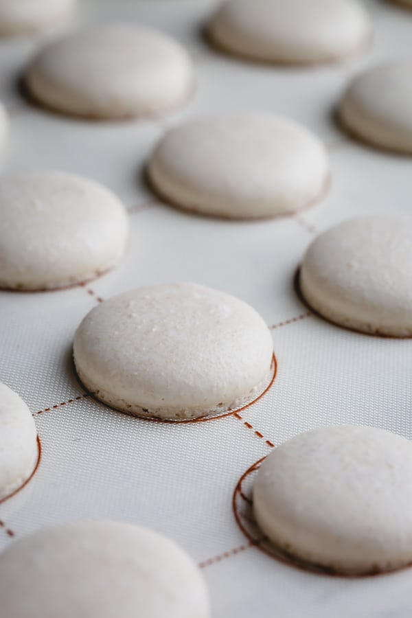 These gorgeous white macarons, filled with silky smooth white chocolate ganache, are pure dream for every macaron lover! Grab a coffee and read my recipe testing notes to get these pure white macarons. #macarons