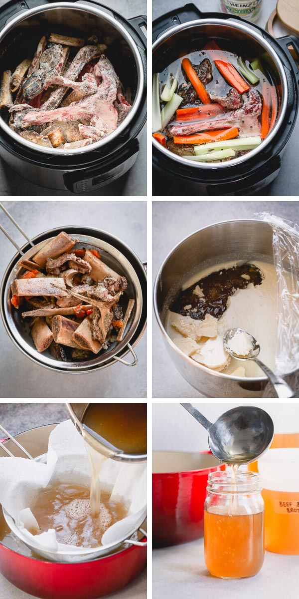 Beef bone broth is a kitchen staple! Made with the nutrients from bones and their marrow, you can use this recipe in soups, stews, pastas and for health benefits. #bonebroth #stock #beefbonebroth #kitchenstaples