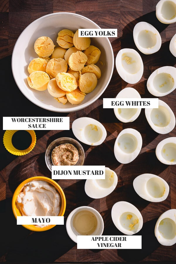Simple ingredients and tested recipe for classic deviled eggs, a crowd-pleaser appetizer for any occasion. #deviledeggs