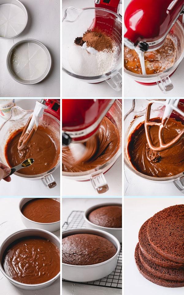 Step by step photos to make the moist chocolate cake layers. #chocolatecake