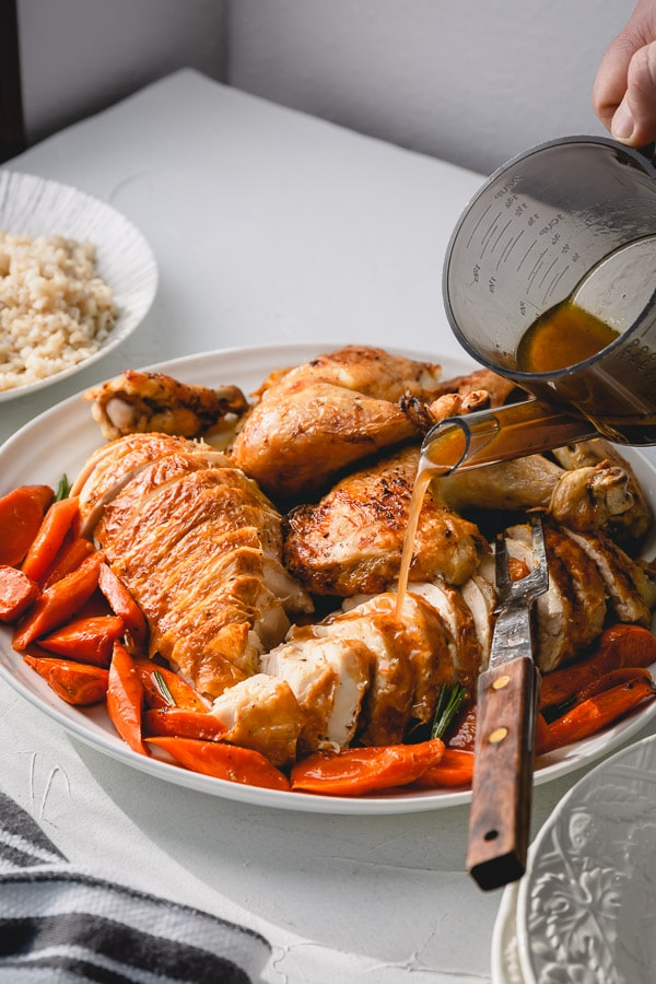 Perfect roast chicken with juicy tender meat all around and addicting crispy skin is easier than you may think! Let me share my tips and tricks for roasting a perfect chicken every time. #roastchicken #wholechicken