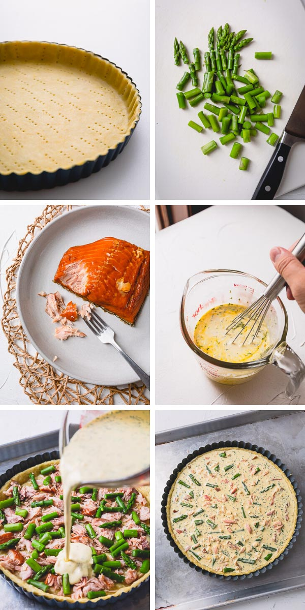 Step by step visual tutorial to make creamy soft smoked salmon quiche #smokedsalmonquiche #quiche