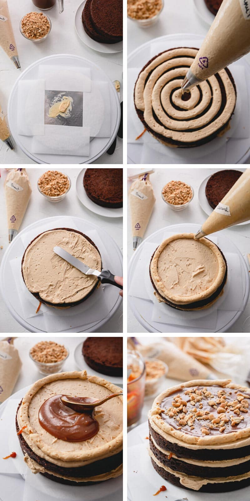 Step by step instructions to layer the most indulgent snickers cake! #snickerscake #chocolatecake