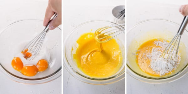 step by step process shots of whisking egg yolks with sugar and cornstarch and flour.