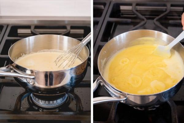 2 images of custard in saucepan on the burner.