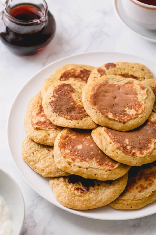 bunch of banana pancakes on plate