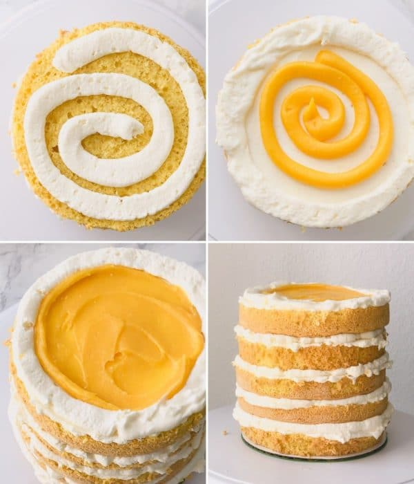 4 step by step photos of assembling cake layers.