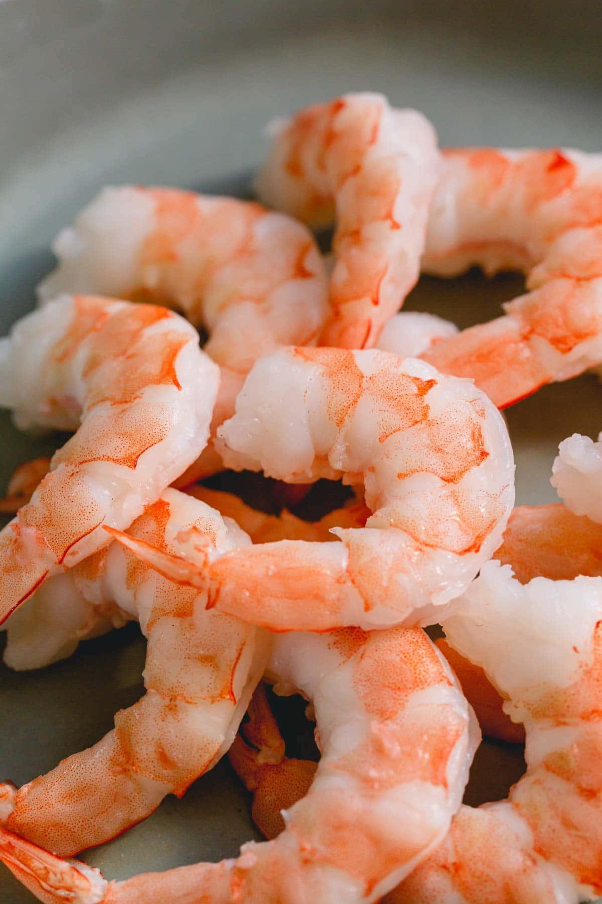 close up of boiled shrimp
