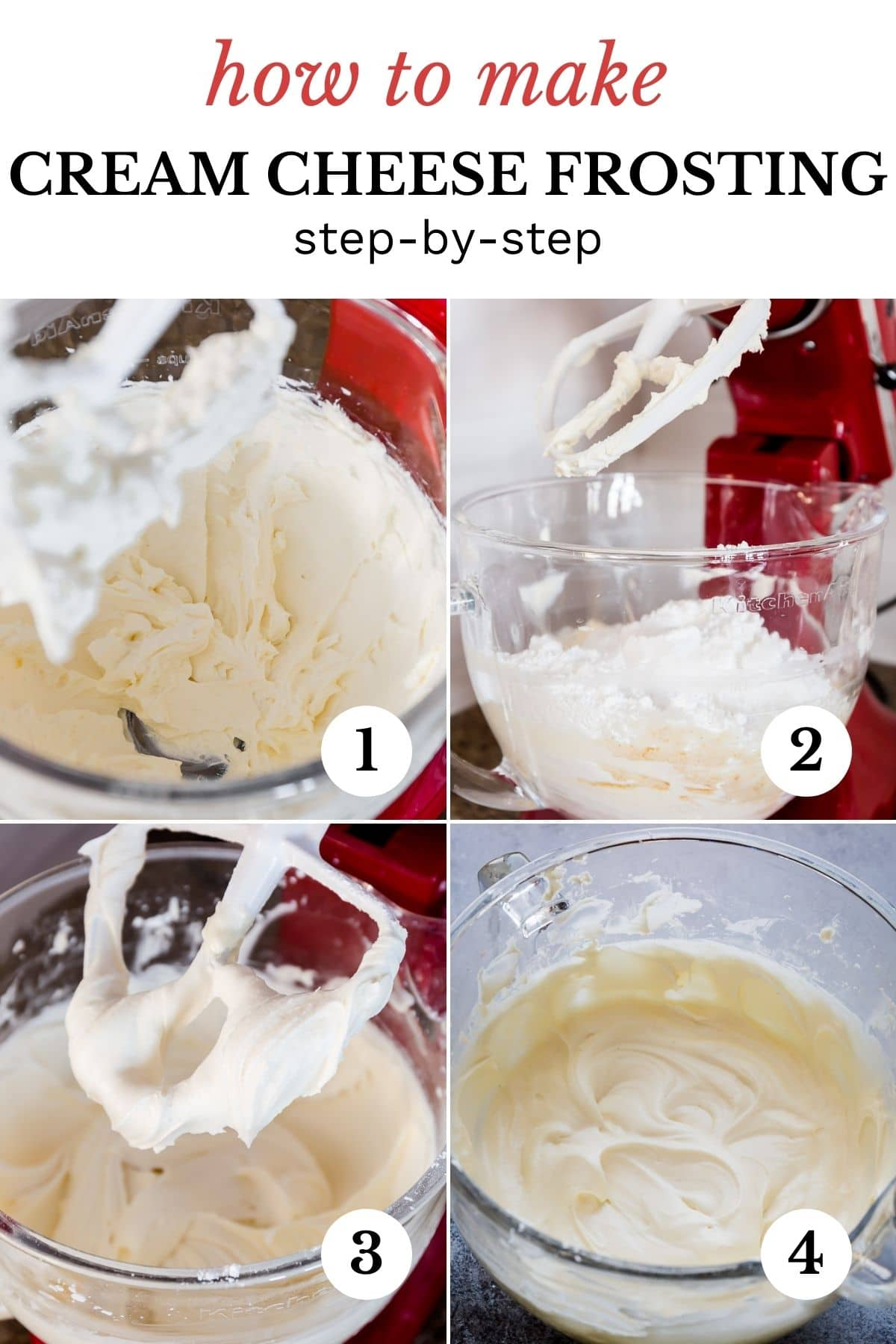 Stand mixer bowl of cream cheese frosting