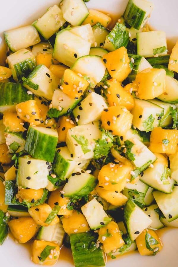 Upclose shot of cucumber mango salad.