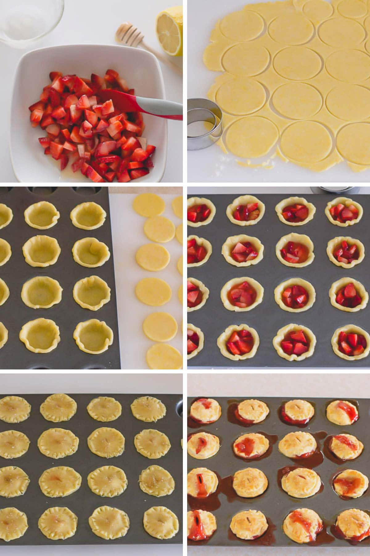 A collage of step by step photos of making strawberry mini pies.