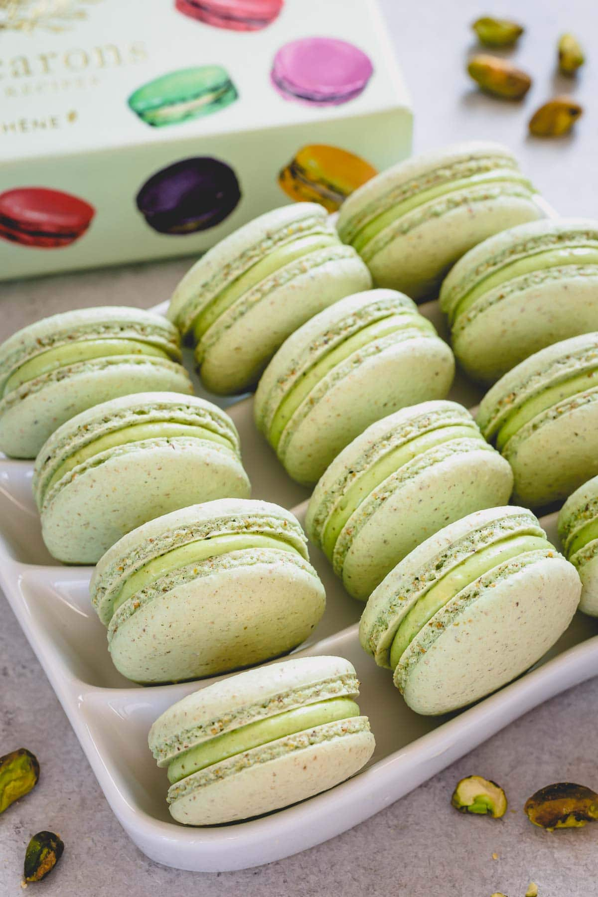 pistachio macarons on a serving plate