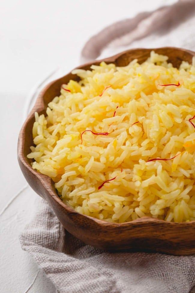 Saffron Rice in wooden bowl