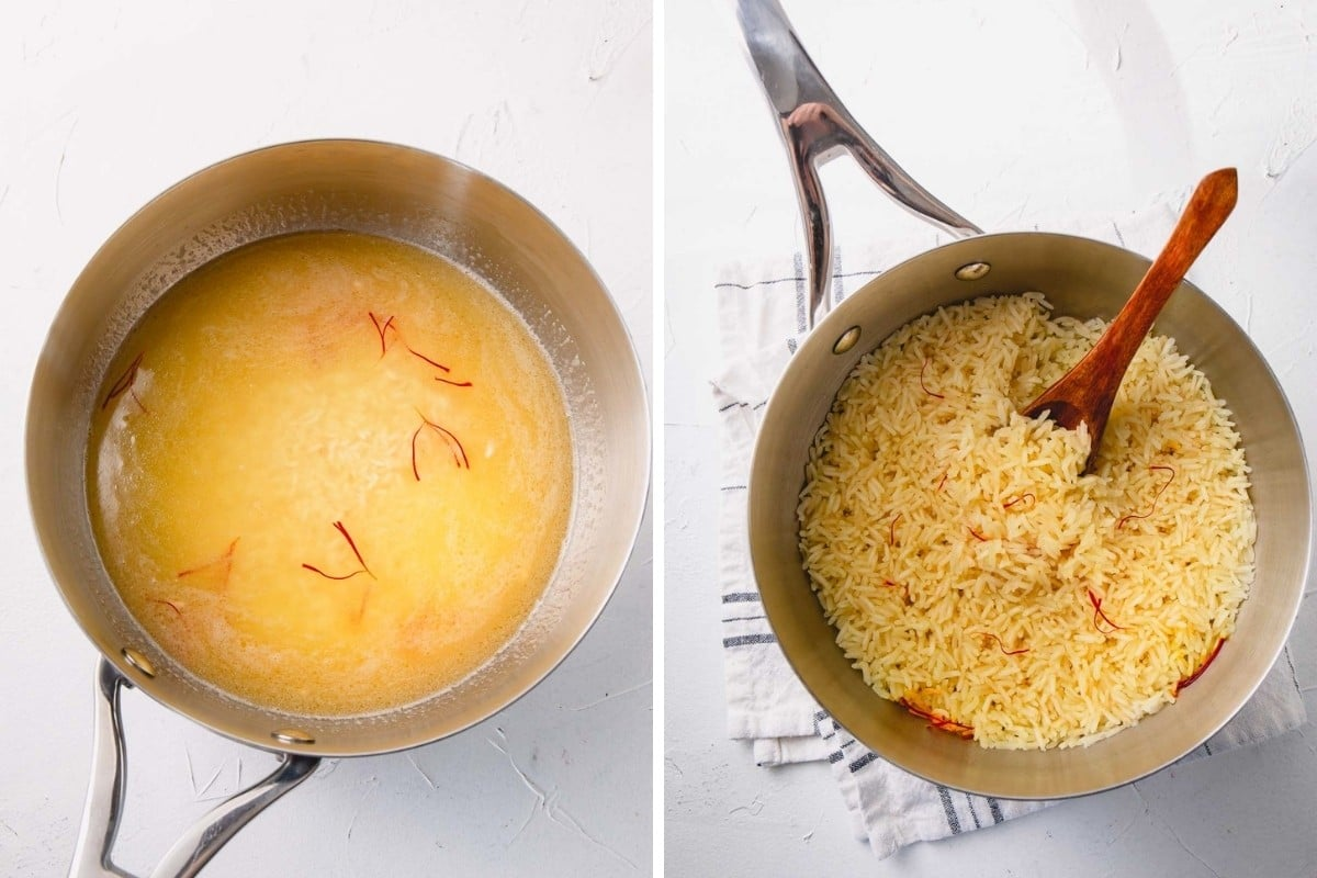 step by step of saffron rice in skillet